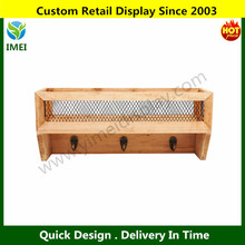 Country Rustic Wood & Metal Wall Mounted Mail Organizer / Letter Holder Wire Mesh Basket Rack w/ Key Hooks YM5-1093