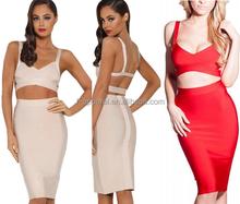 Wholesale High end 2015 Latest Sexy Two Piece Rayon Bandage Dress