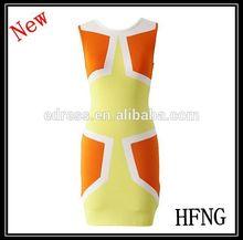 señoras vestido de occidental diseños de la mujer vestido de color brillante bloque vendaje de vestir a la venta