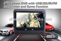 AC 2013 Newest Wireless 8bits/32bits game to support 2players function SONY car lcd headrest monitor