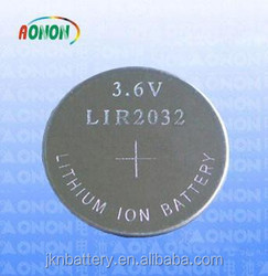 Button cell lir2032 battery/3.6v lir2032 with wire/lir2032 rechargeable button battery