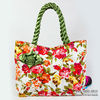 Handbags : Vintage Floral Tote Bags With Front Rose Ribbon And Twisted Fabric Handle , Cloth Purses , Ladies Handbags