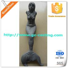 Alibaba express China foundry OEM custom made arts and crafts aluminum casting / cast iron mermaids