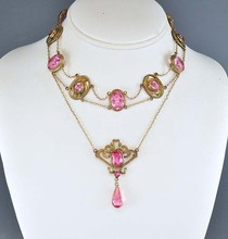 Vintage Art Nouveau Newest Necklace Sapphire Pink Glass Gold Lotus Dog Collar Necklace Antique Jewelry