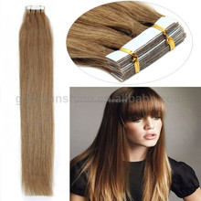 2015 Hot Sale Factory Price High Quality Mongolian Virgin Double Drawn Invisible Tape Hair Extensions Silky Straight
