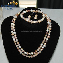8mm AA grade necklace and bracelet Nugget traditional pearl set
