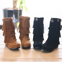 autumn winter fashion girls children kids pu leather boots with fringes