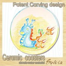 2015 newest design Chinese Zodiac Dragon custom creative Absorbent white DIY painting caremic round Mug coasters