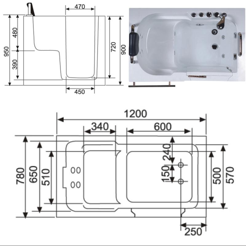 Hs1105 design moderno passo samll em sessão caminhada na banheiraBanheiras  -> Tamanho Mínimo De Banheiro Com Banheira