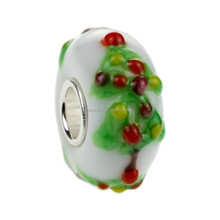 Wholesale Christmas Tree Murano Glass Bead with 925 Sterling Silver Tube For European Bracelets