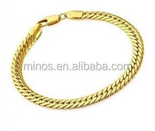 Men's 22K Gold Plated Snake Chain Link Bracelet 10mm,New Wholesale Men Fashion Chain Bracelet