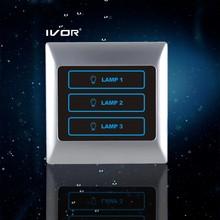 New Hot Sale Design Foshan IVOR Digital lighting Touch screen switch 3 gang SK-T2000L3 Pearl Chrome