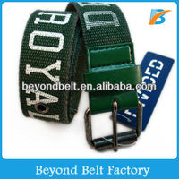 Men's Letter Print Polyester Canvas Belt with Metal Pin Buckle