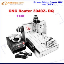 No tax ship from UK! cnc wood carving machine for 3040Z-DQ with 4th axis,china cnc milling machine
