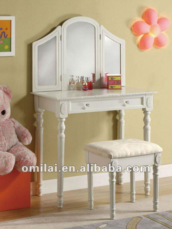 Vanity set trucco tavolo con cassetti sgabello e specchio bianco armadietto di legno id - Specchio make up ikea ...