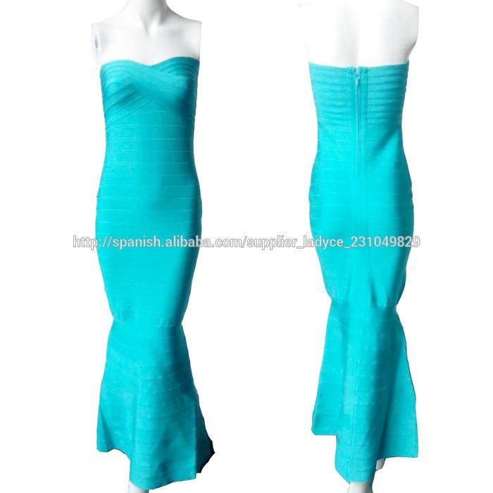 vestido de noche <span class=keywords><strong>azul</strong></span> larga cola de pez tubo de control de calidad
