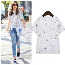 HFR-AN53 2015 summer Europe and America fashion women stars printing cotton round neck T-shirt