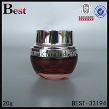 Hot Vintage Art Deco Skin Care Glass Vanity Cream Jar Silver Metal Lid 20G,Brown Glass body Dresser Women Face cream Jar Trinket