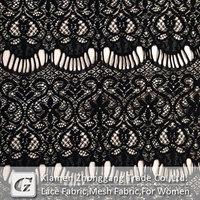 Cotton nylon black eyelash lace fabric