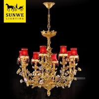 Rococo Country Style 8 Lights Red Lampshade Rose Flowers Bronze porcelain Living Room led crystal chandelier