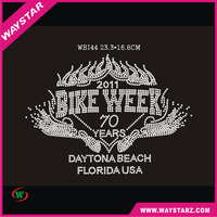 Fancy Crystal Bike Week Letter Design Hot Fix Rhinestone Transfer Motif For Bags