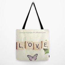 Colorful organic cotton shopping tote bags with Water-based printing
