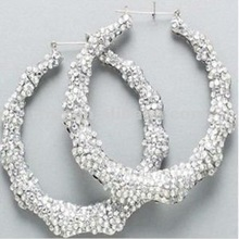 New arrived Basketball Wives Bamboo Hoop Earrings with Bling