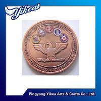 Eagle & gun custom zinc alloy 3D challenge red copper coin