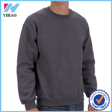 Yihao latest design mens pullover plain hoodie custom 100 cotton long sleeve sweatshirt without hood