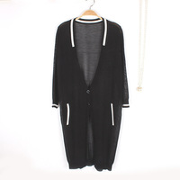 2015 summer new flax long knitted cardigan thin section fake pocket long sleeve cardigan
