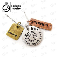 "Antique Silver ""Don't Look back thats not where you are going"" Inspirational Word Necklace 20Pcs/lot #LN1096"