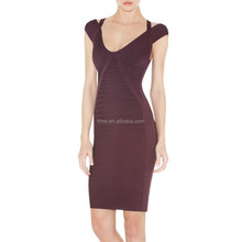 Tight-fitting Dark Purple Short Evening Dress for women