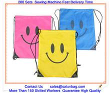 Silk printing logo cloth laundry bag with long strap