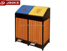 JINKE New Year Promotion Plastic Wood Cover Outdoor Street Dustbin