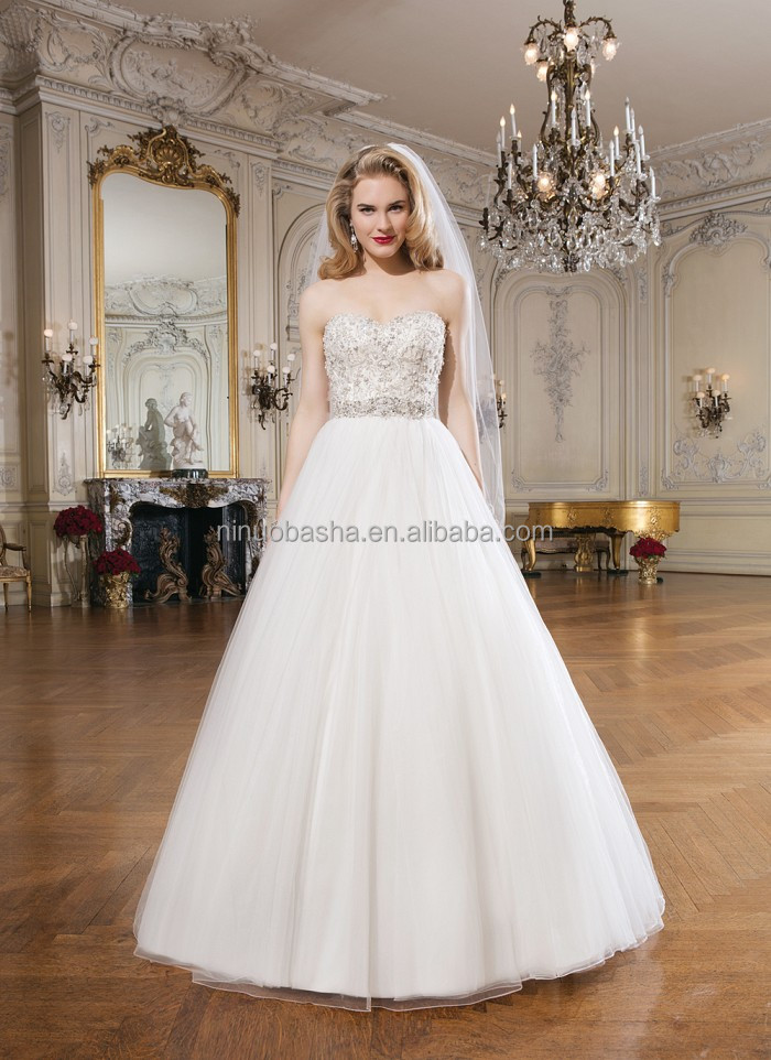 New Style Ball Gown Wedding Dress 2014 Sweetheart Beaded Bodice ...