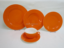 Fine Dinnerware, Royal Classic Dinnerware, Orange China Dinnerware Service for 4 person