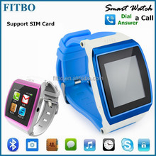 "Newest 0.3MP Camera Sync SIM card Skype 1.55"" sport smart watch"