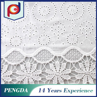 Designer fabric supplier Shaoxing Fashion Woven embroidered white cotton fabric