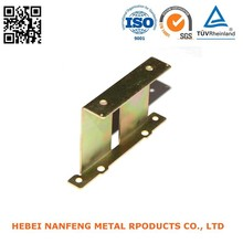 Factory OEM yellow galvanizing metal fittings steel stamping furniture fixing plates