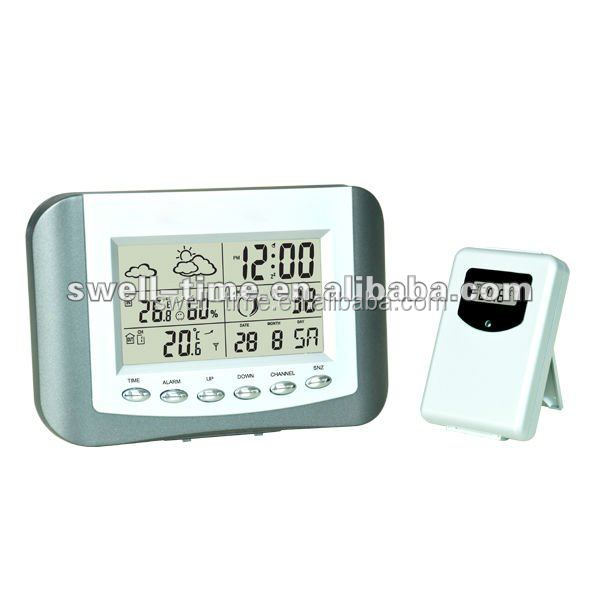 Inalámbrico digital termómetro y higrómetro reloj