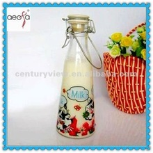 Rich types colored with clip or tin lid glass milk bottle
