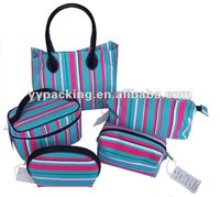 Ever Rich blue stripe microfiber cosmetic bag ER-07241