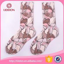 Beauty flower pattern transfer printing women socks manufacturer