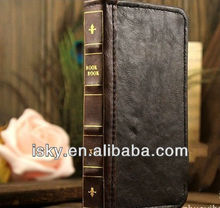 hot selling wallet leather case for iphone 5 book England style bible case for iphone 5
