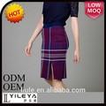 de alta moda de primavera de tartán formal conjunto de falda y blusa de señora