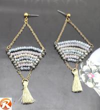 Fashion colorful tassel earrings, wholesale pearl dangler eardrop for lady