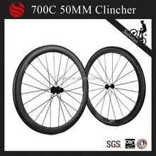 High performance 50mm carbon wheels for bicycle ,clincher wheel quick release skewers
