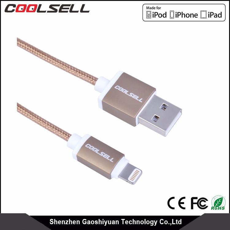 Top Vendendo 2.0 m MFI Cabo USB Nylon Trançado Com Invólucro De Liga De Alumínio