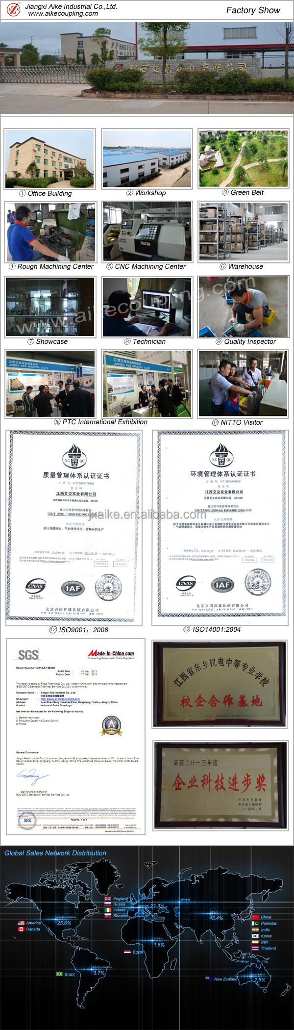 ISO 7241 B Нержавеющая сталь гидравлический quick release муфта