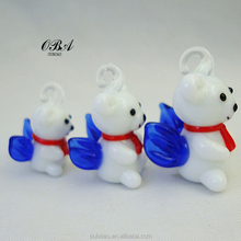 Wholesale glass craft Christmas angels bear,Colorful and lovely Christmas angels bear